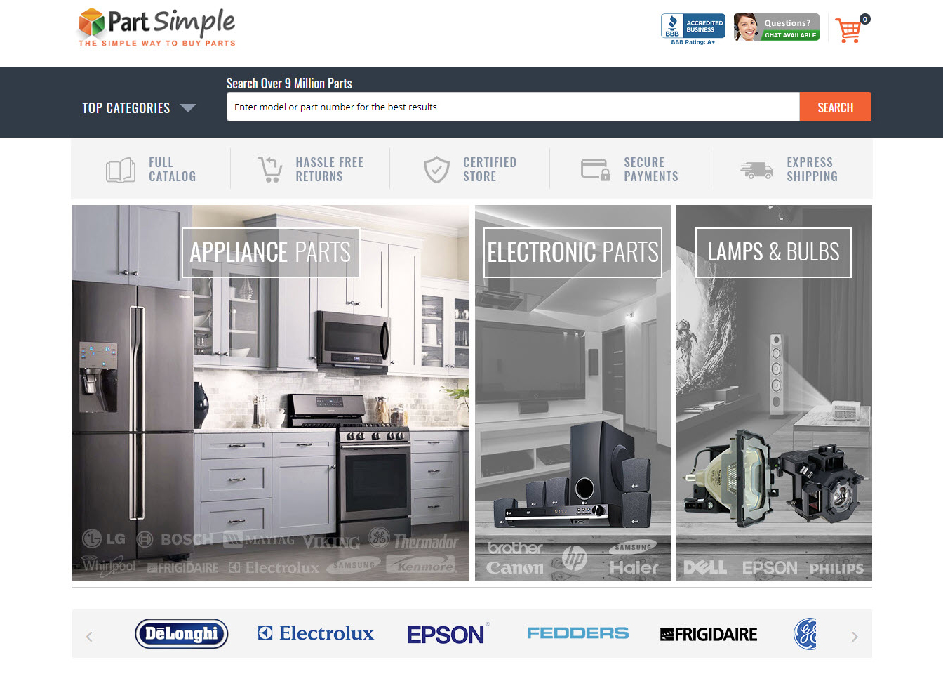 www.partsimple.com Home Page